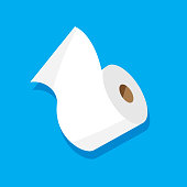 Vector illustration of a roll of toilet paper against a blue background in flat style.