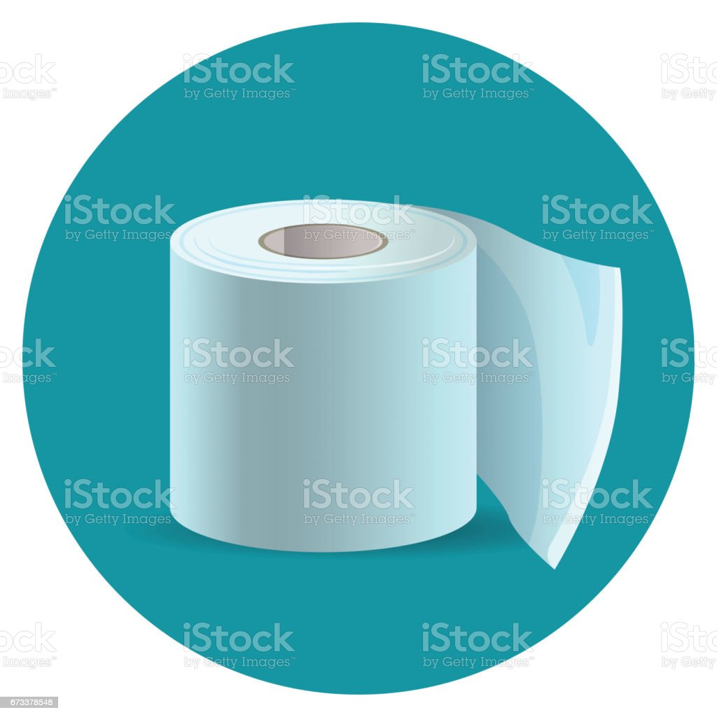 Toilet paper icon on blue web button vector illustration vector art illustration