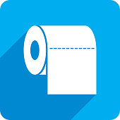 Vector illustration of a blue toilet paper icon in flat style.