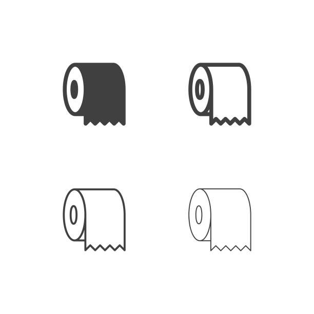 toilet paper icons - multi series - papier toaletowy stock illustrations