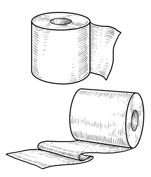 Toilet paper illustration, drawing, engraving, ink, line art, vector Illustration, what made by ink, then it was digitalized. toilet paper stock illustrations