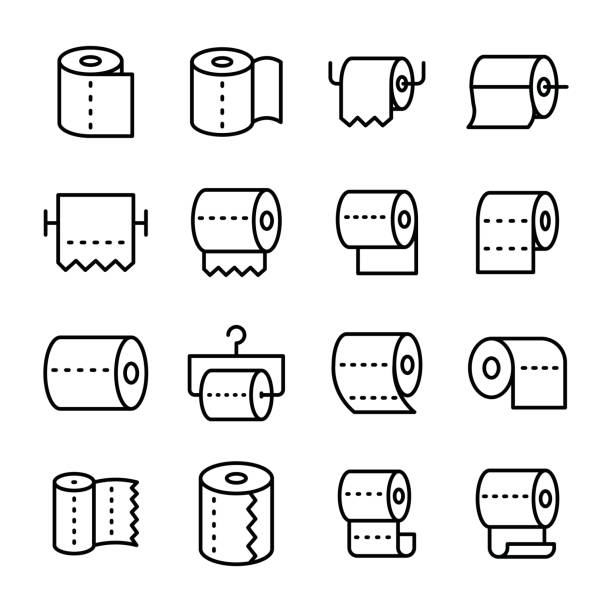 toilet paper line vector icons set - papier toaletowy stock illustrations