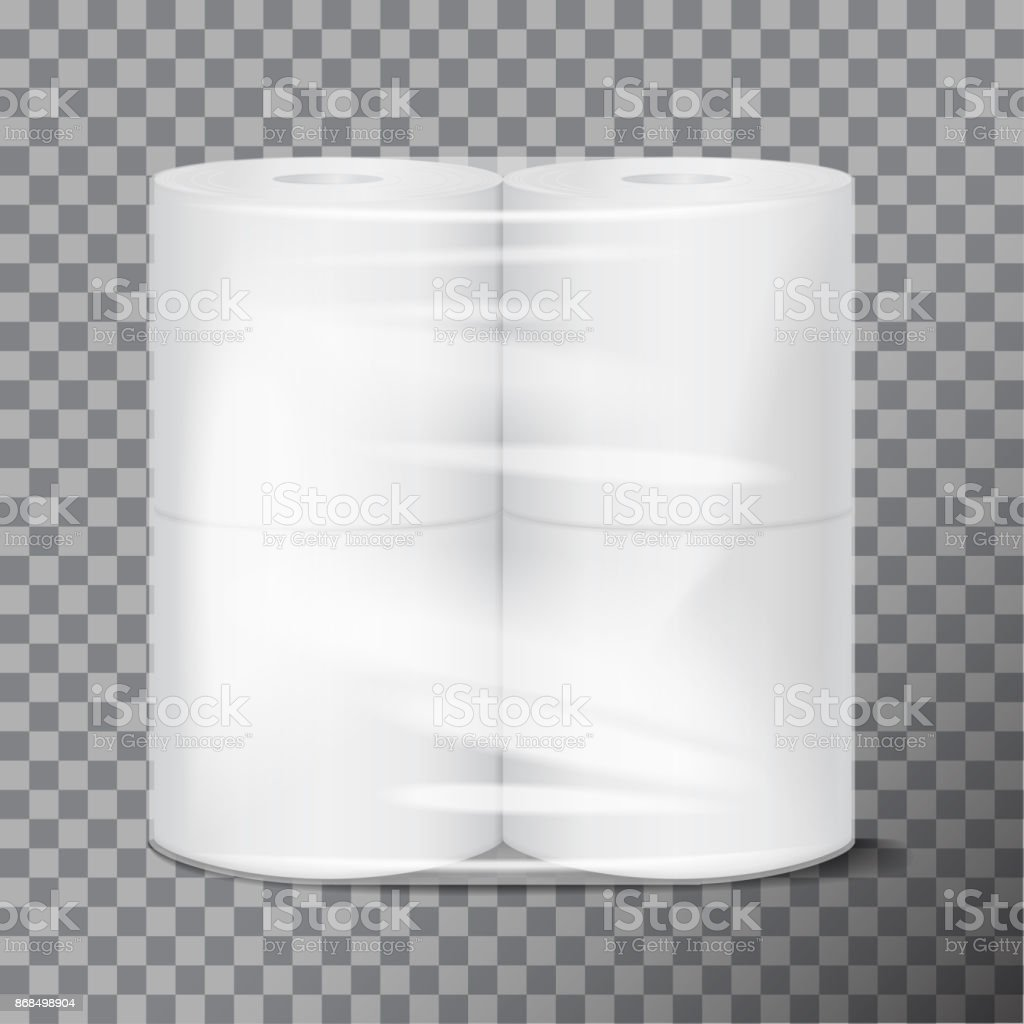 Toilet Paper Package White Mock Up With Transparent Wrapping