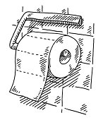 Hand-drawn vector drawing of a Toilet Paper Roll in a Bathroom. Black-and-White sketch on a transparent background (.eps-file). Included files are EPS (v10) and Hi-Res JPG.