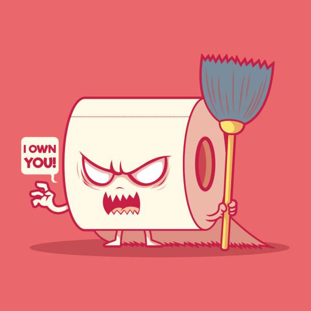 stockillustraties, clipart, cartoons en iconen met de illustratie van het tekenvector van het toiletbroodje. - paranoïde