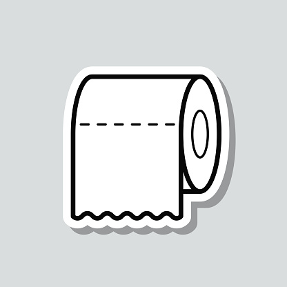 Toilet paper roll. Icon sticker on gray background