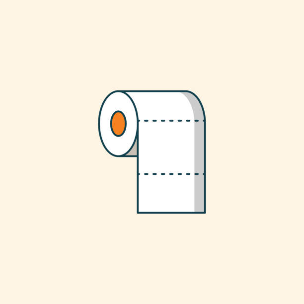 illustrazioni stock, clip art, cartoni animati e icone di tendenza di toilet paper roll line icon - carta igienica