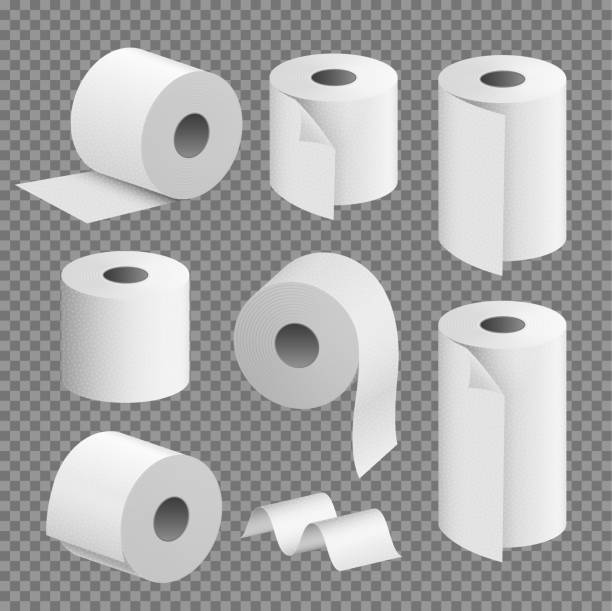 illustrazioni stock, clip art, cartoni animati e icone di tendenza di toilet paper roll tissue. toilet towel icon isolated realistic illustration. kitchen wc whute tape paper - carta igienica