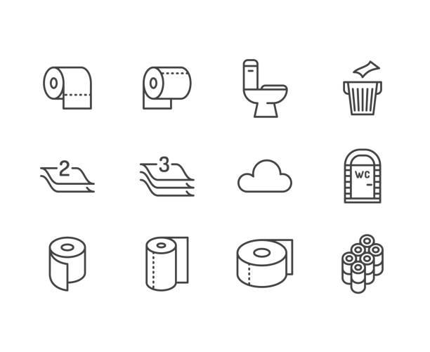 화장지 롤, 수건 플랫 라인 아이콘. 위생 삽화, 모바일 화장실, 화장실, 트리 계층 냅킨. 가정 용품에 대 한 얇은 표지판 저장합니다. 픽셀 완벽 64 x 64. 편집 가능한 선 - 말기 stock illustrations
