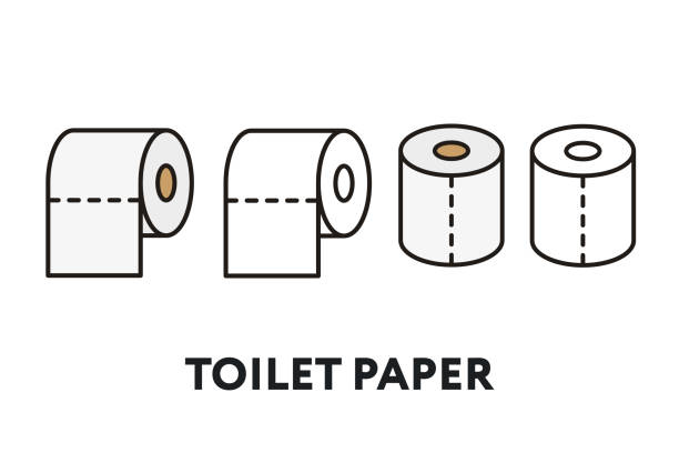 Toilet Paper Roll Vector Flat Line Stroke Icon Toilet Paper Roll Vector Flat Line Stroke Icon toilet paper stock illustrations