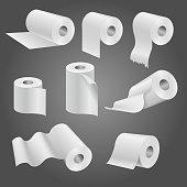 Toilet paper roll, white soft kitchen towels vector set