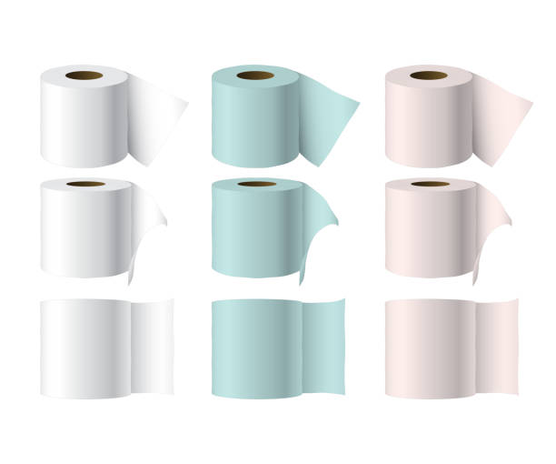 illustrazioni stock, clip art, cartoni animati e icone di tendenza di toilet paper rolls - carta velina