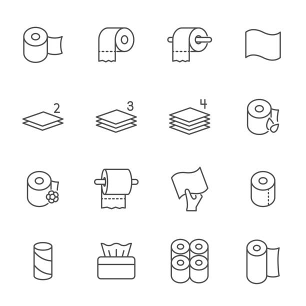 toilet paper set of vector icons outline style - papier toaletowy stock illustrations