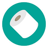 Vector illustration of a roll of toilet paper on a teal round background.