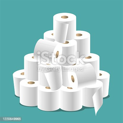 A big bunch of toilet paper isolated on a turquoise background.