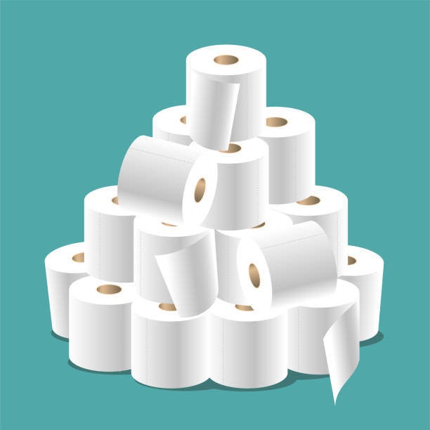Toilet paper A big bunch of toilet paper isolated on a turquoise background. toilet paper stock illustrations
