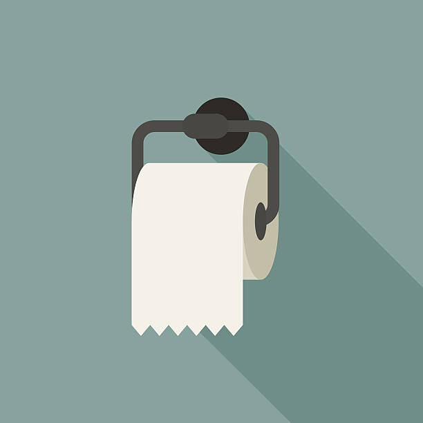 Toilet paper Toilet paper with long shadow in flat style. toilet paper stock illustrations