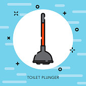 Toilet Plunger Open Outline Cleaning Supplies Icon