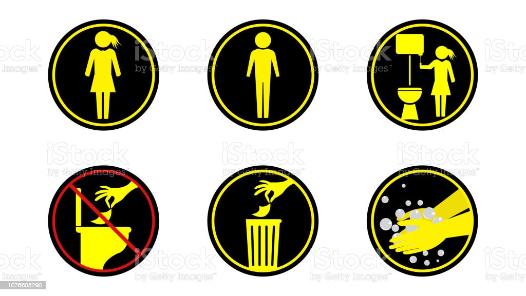 Toilet Rules Vector Stock Illustration - Download Image Now - iStock