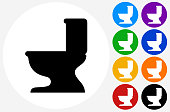 Toilet Seat Icon on Flat Color Circle Buttons. This 100% royalty free vector illustration features the main icon pictured in black inside a white circle. The alternative color options in blue, green, yellow, red, purple, indigo, orange and black are on the right of the icon and are arranged in two vertical columns.