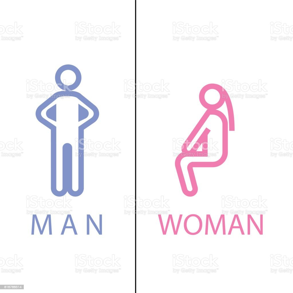 toilet sign in pure funny style vector art illustration