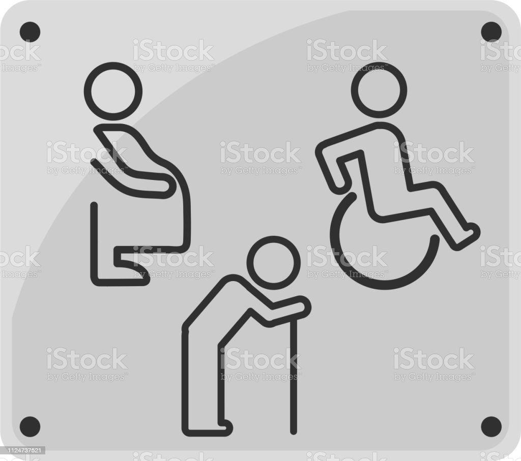 Signe De Toilette Ligne Icône Personne Handicapée La Femme