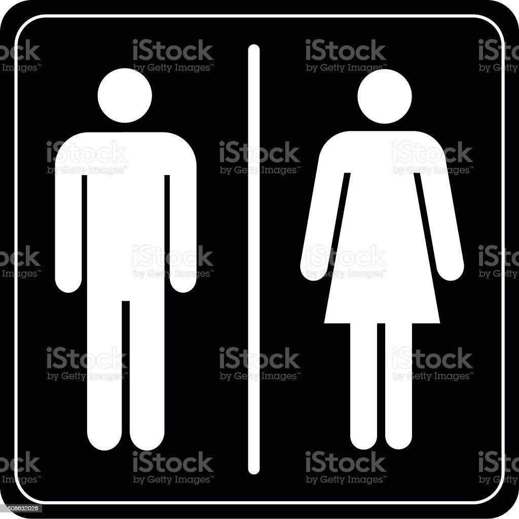 Sanitário entre homem e mulher - ilustração de arte em vetor
