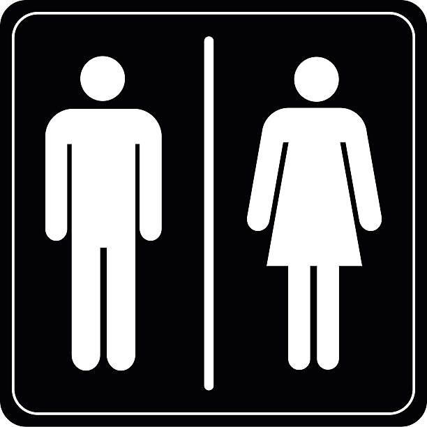 Toilet Sign Man And Lady Vector Art Illustration
