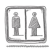 Hand-drawn vector drawing of a Toilet Sign qith a Men and Women Gender Symbol. Black-and-White sketch on a transparent background (.eps-file). Included files are EPS (v10) and Hi-Res JPG.