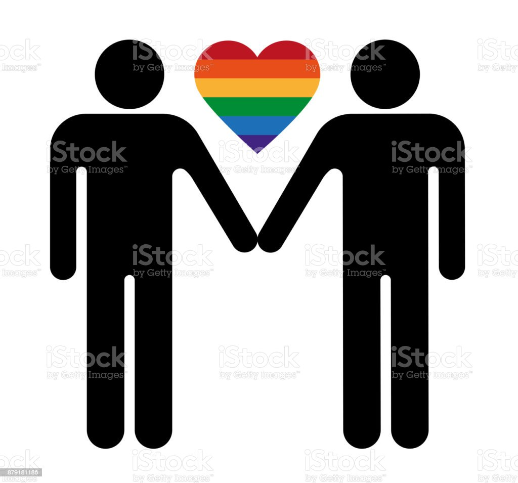 Toilet Sign Relationships – Gay couple vector art illustration