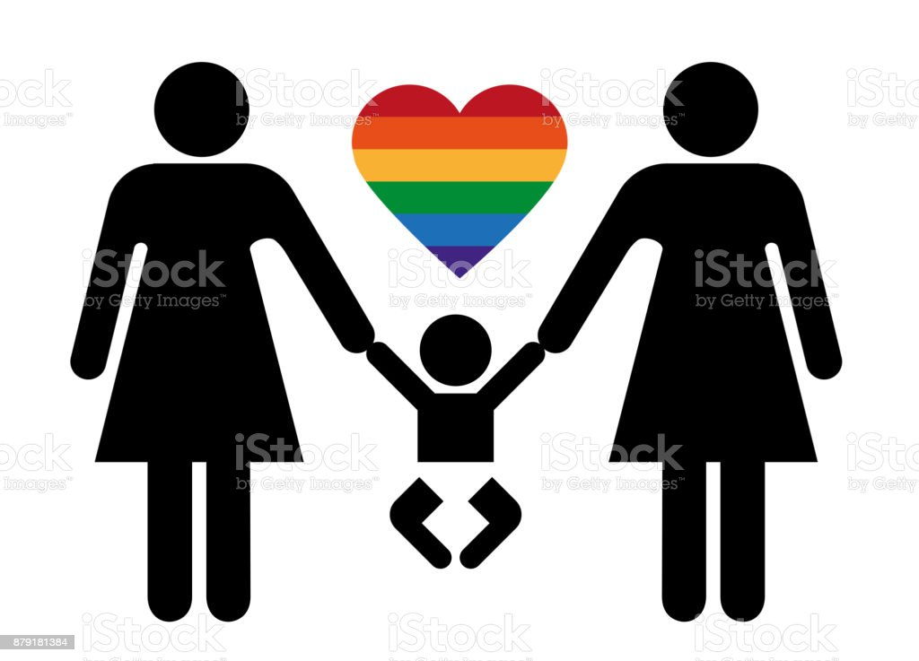 Toilet Sign Relationships Lesbian Couple And Baby Royalty Free