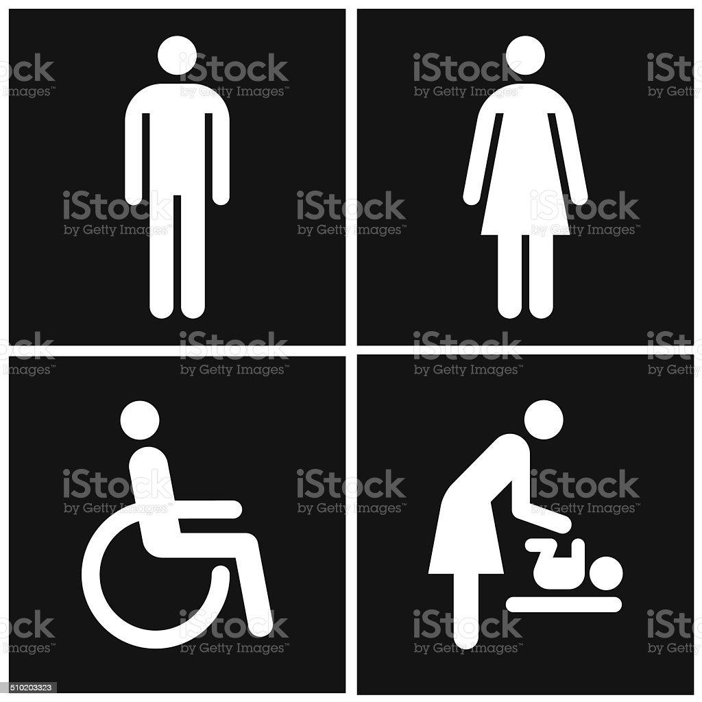 Segno Di Bagno E Toilette Madre Camera E Di Segnale Per Disabili ...