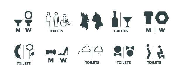 Toilet signs. He she WC door symbols, man and woman bathroom direction signs. Vector funny icons of restroom pictogram Toilet signs. He she WC door symbols, man and woman bathroom direction signs. Vector funny icons of restroom pictogram set bathroom icons stock illustrations