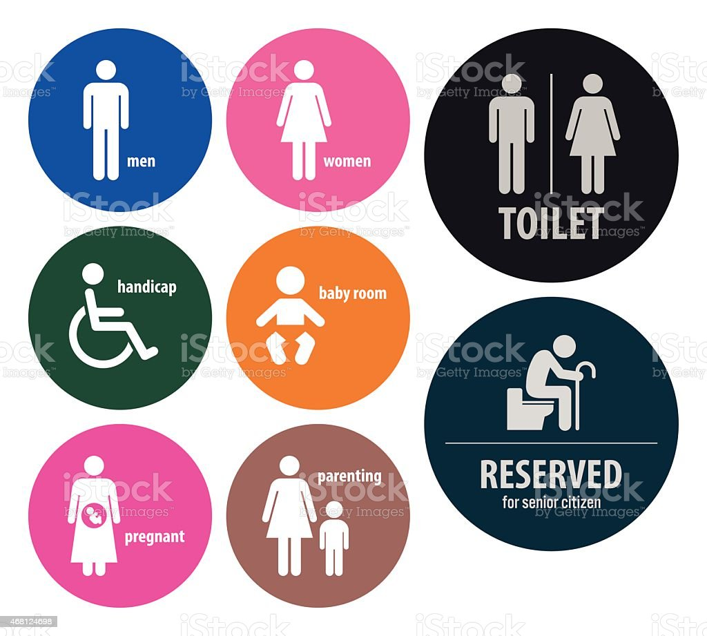 Toilet Signs Restroom Signboards vector art illustration