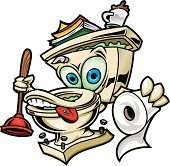 This is an illustration of a happy toilet. Fresh and ready to catch anything the comes his way. All secondary color levels are removable down to a simple flat color image. A BLACK & WHITE version is also available for download. The file is provided as an Illustrator 8 EPS and a 300dpi high-rez jpg.