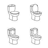 Toilet Sketch Sign. Toilet bowl with seat. Line art Icon Set.