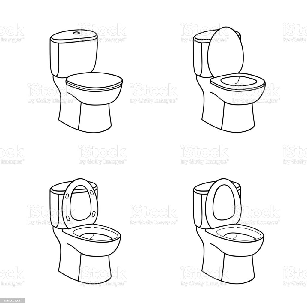 Sinal de esboço de WC. Vaso sanitário com assento. Linha art Icon Set. - ilustração de arte em vetor