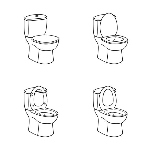 Toilet Sketch Sign. Toilet bowl with seat. Line art Icon Set. vector art illustration
