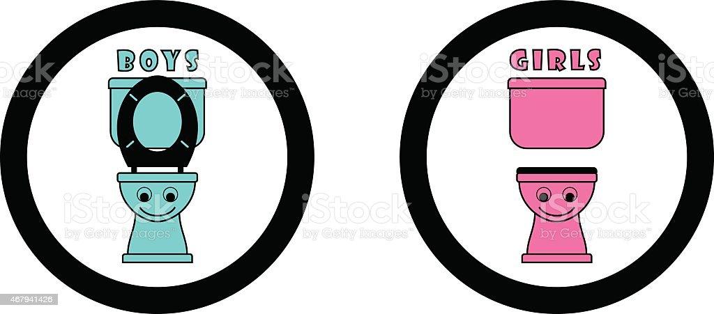 Toilette Symbole Für Kinder Stock Vektor Art Und Mehr Bilder Von