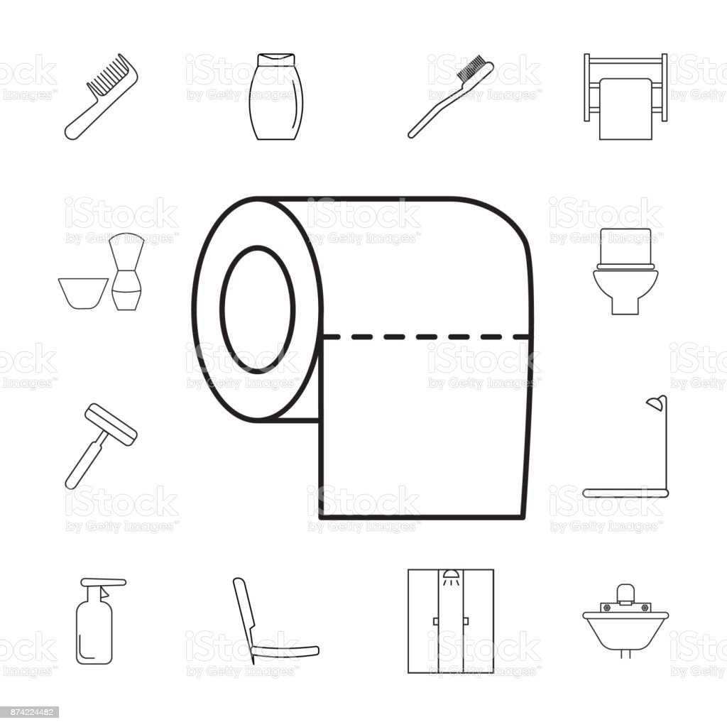 Toilet Tissue Paper Roll Icon Set Of Bathroom Icons Signs Outline ...