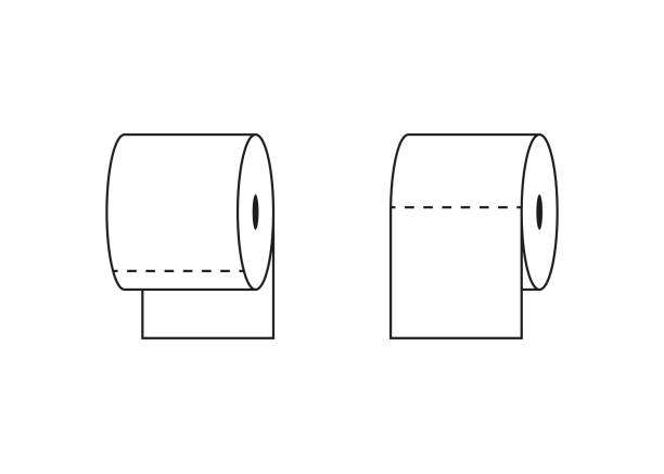 toilet tissue paper roll outline icon, vector - papier toaletowy stock illustrations
