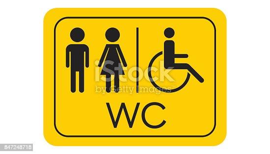 Wc toilette vektor icon m nner und frauen melden f r for Gelbe tafel