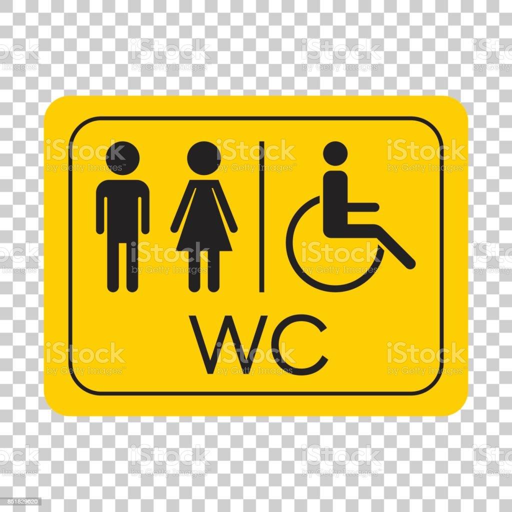 wc toilette vektor icon m nner und frauen melden f r toilette auf gelbe tafel stock vektor art. Black Bedroom Furniture Sets. Home Design Ideas