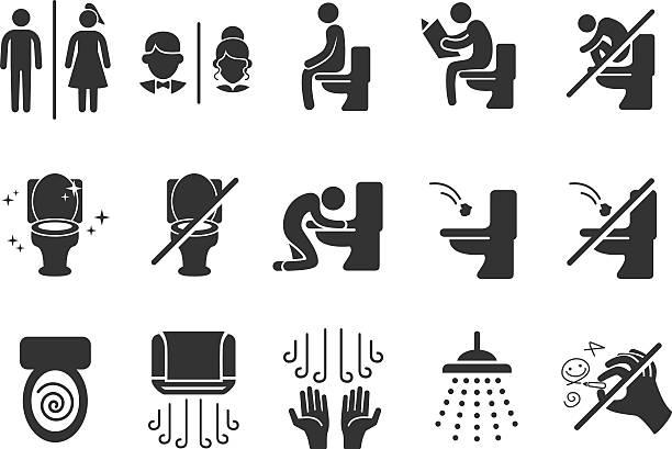 toilette vektor-icons - fahrzeugsitz stock-grafiken, -clipart, -cartoons und -symbole