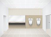 Illustration of inside men toilet, beige color.