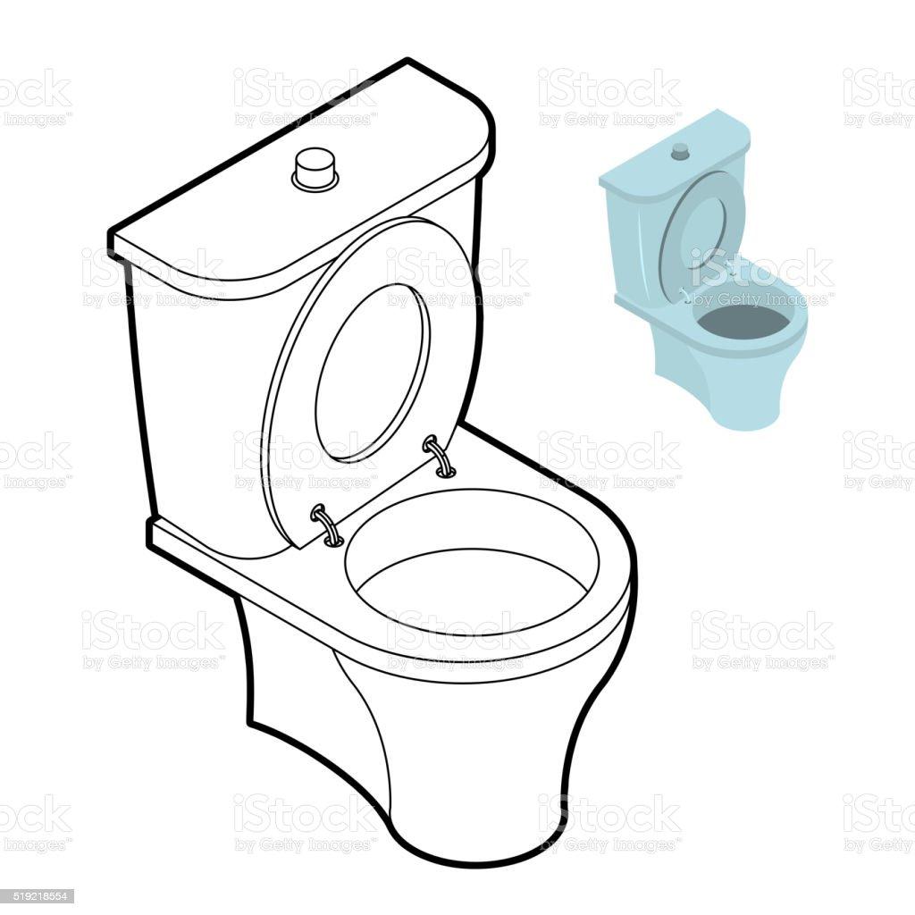 Toilet wc coloring book bathroom accessories in linear - Disegnare bagno gratis ...