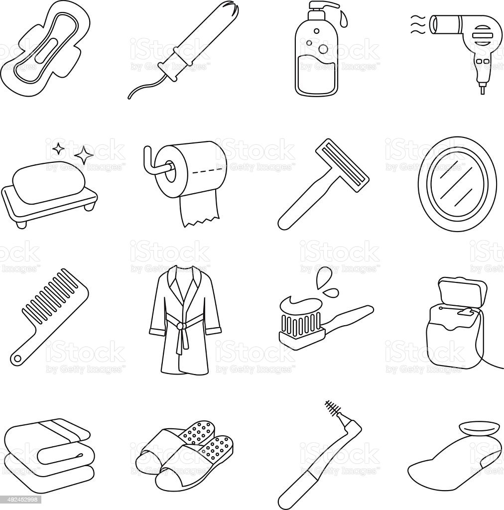 Toiletries Outlines vector art illustration