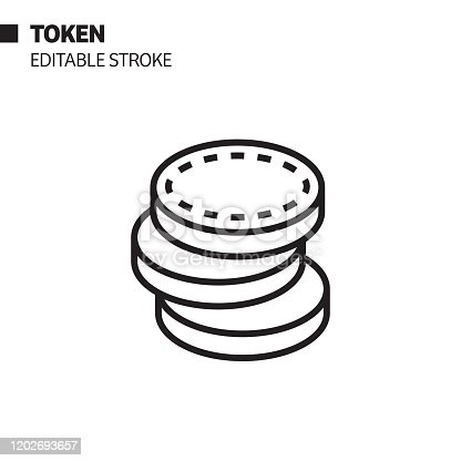 Token Line Icon, Outline Vector Symbol Illustration. Pixel Perfect, Editable Stroke.