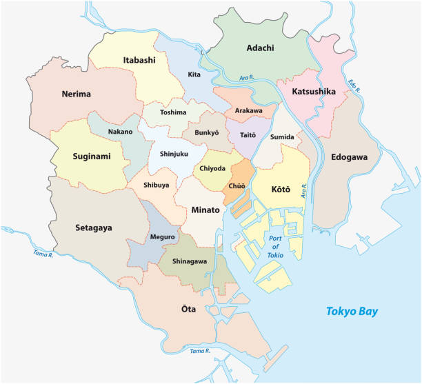 Tokio administrative and political map Tokio special wards administrative and political map tokyo stock illustrations