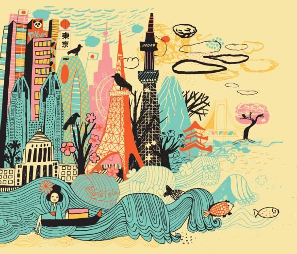 Tokyo a Japan Vector file of hand drawn city Tokyo un Japan adventure drawings stock illustrations